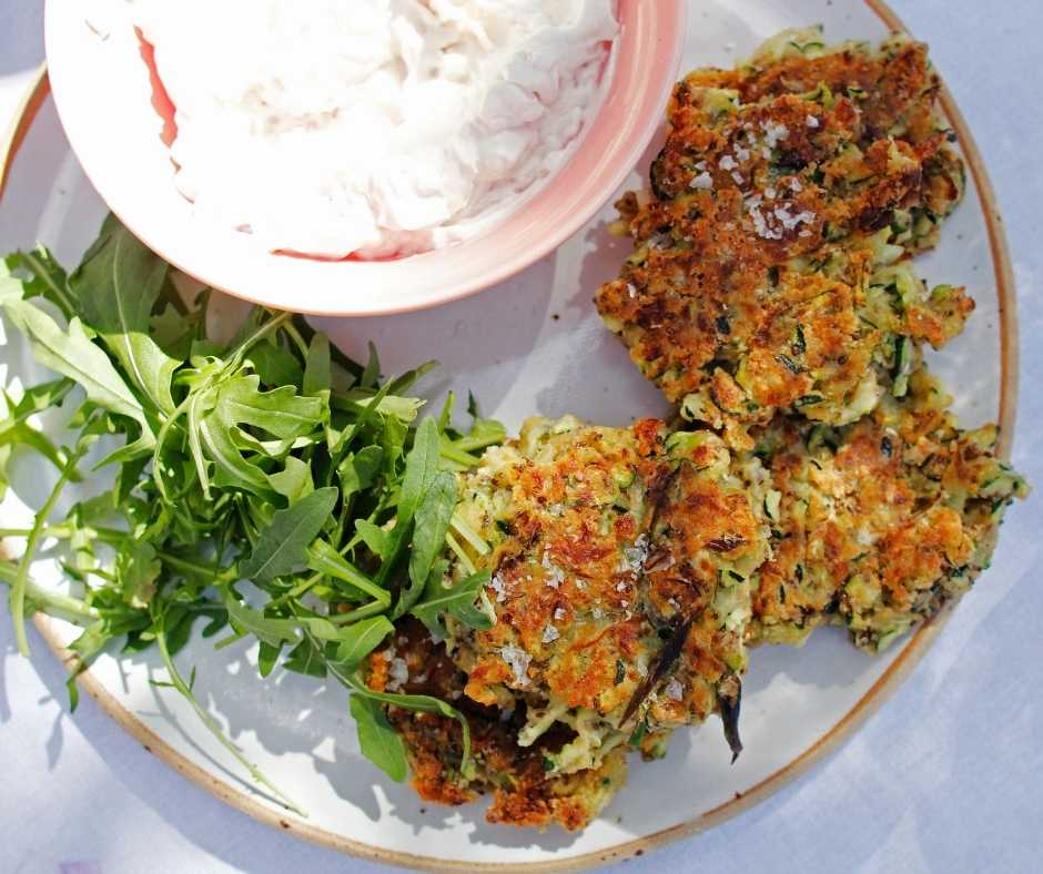 Holly White's Courgette Fritters with Coconut Sour Cream