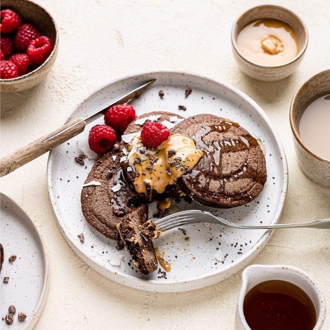 Chocolate Chia Pancakes